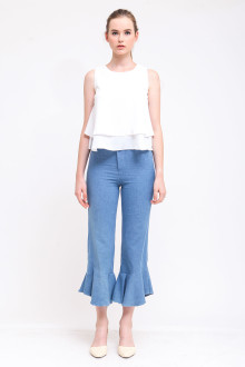 Madre Frill Pants - Denim