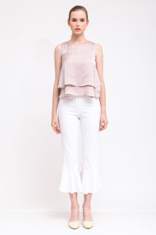 Madre Frill Pants - White