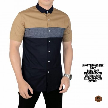 KEMEJA PENDEK BROWN MIX GREY NAVY