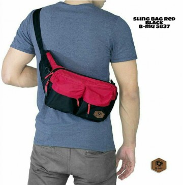 SLING BAG HITAM MIX MERAH 5833