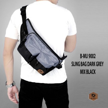 SLING BAG ABU GELAP MIX HITAM 9002