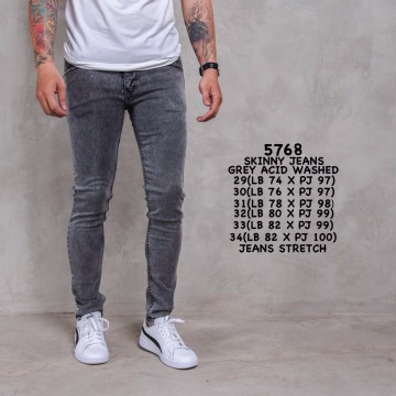 CELANA SKINNY JEANS GREY ACID WASHED 5768