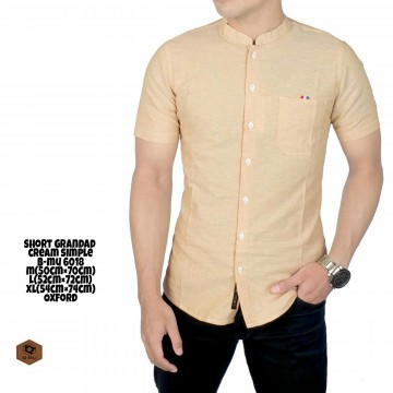 KEMEJA PENDEK GRANDAD CREAM SIMPLE 6018