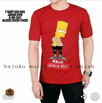 TSHIRT DISTRO MERAH SIMPSON #ANAK JAMAN NOW 5951