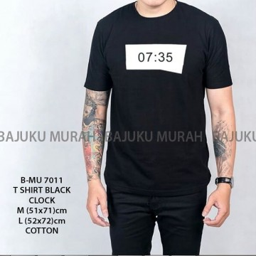 TSHIRT DISTRO HITAM CLOCK 7011