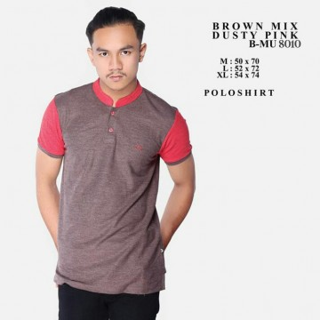 POLOSHIRT BROWN MIX DUSTY PINK 8010