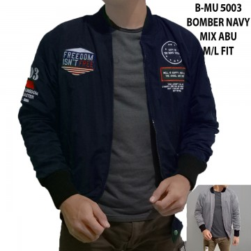 JAKET BOMBER NAVY MIX ABU 5003