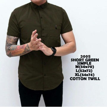 KEMEJA PENDEK GREEN ARMY SIMPLE 3005