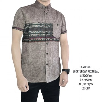 KEMEJA PENDEK VARIASI SHORT BROWN MIX TRIBAL 3308