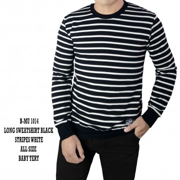 SWEATSHIRT BLACK MIX STRIPES WHITE 1014