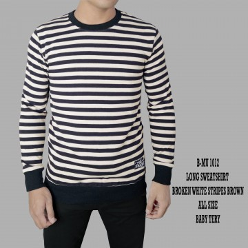 SWEATSHIRT BROKEN WHITE STRIPES BROWN 1012