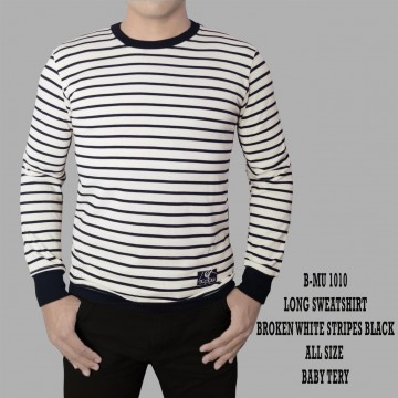 SWEATSHIRT BROKEN WHITE STRIPES BLACK 1010