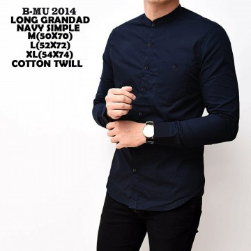 KEMEJA PANJANG GRANDAD NAVY SIMPLE 2014