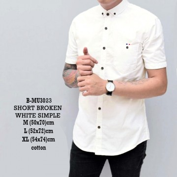 KEMEJA PENDEK BROKEN WHITE SIMPLE 3023