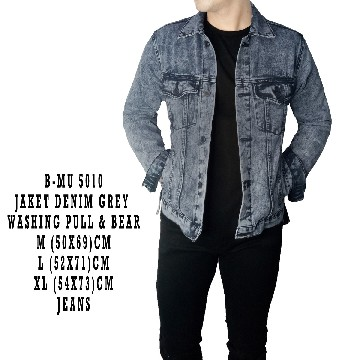 JAKET DENIM GREY WASHING PULL&BEAR 5010