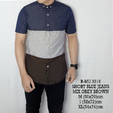 KEMEJA PENDEK BLUE JEANS MIX GREY BROWN 3316