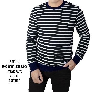 SWEATSHIRT BLACK STRIPES WHITE 1018