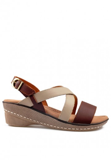Vivere Wedges Sandals Dark Brown/Taupe