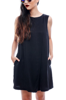 Black Basic Loose Jumpsuit