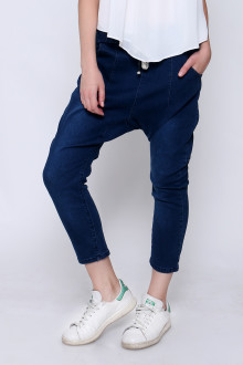 Blue Drop Crotch Denim Pants