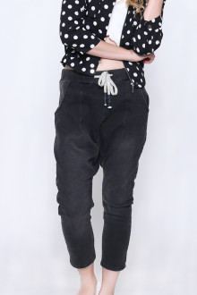 Black Drop Crotch Denim Pants