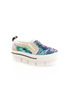 Green Blue Sequin High Platform Shoes