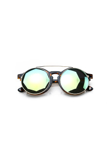 Double Green Lense Brown Round Sunglasses