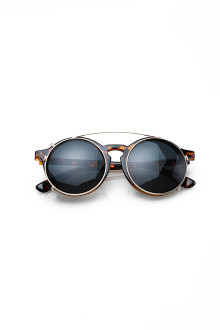 Double Black Lense Brown Round Sunglasses
