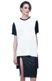 Unisex White Black Long Tees with Stepped