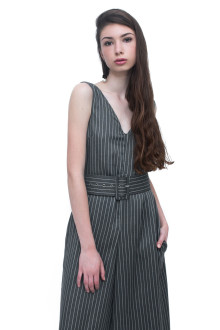 Grey Stripe Jumpsuit with Belt
