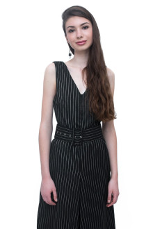 Black Stripe Jumpsuit with Belt