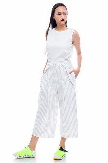 White Cross Pleats Jumpsuit