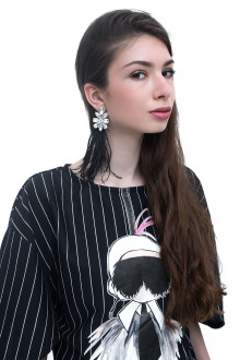 Black Big Crystal Feather Earrings