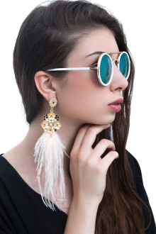 White Gold Flower Feather Earrings