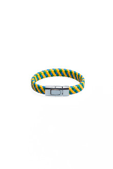Yellow Blue Wide Flat Faux Leather Bracelet