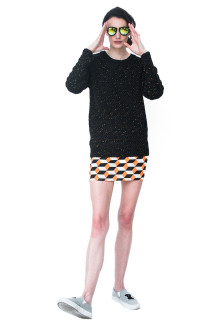 Black Knit Multicolor Yarn Sweatshirt