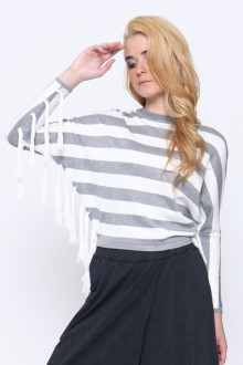 Grey Stripe Tassle Top