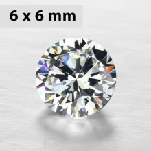 CZWC0024 Batu Cubic Zirconia Circle 5A White 6 x 6 mm