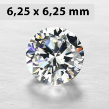CZWC0029 Batu Cubic Zirconia Circle 5A White 6.25 x 6.25 mm