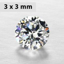 CZWC0031 Batu Cubic Zirconia Circle 5A White 3  x 3 mm