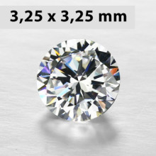 CZWC0032 Batu Cubic Zirconia Circle 5A White 3.25  x 3.25 mm
