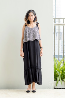 Sleeveless Layered Maxi Dress (Monochrome)