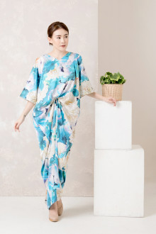 Turquoise Floral Front Draped Kaftan