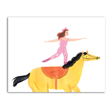 Pink Lady Rides Horse image