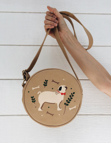 Pug Caramel Round Leather Bag image
