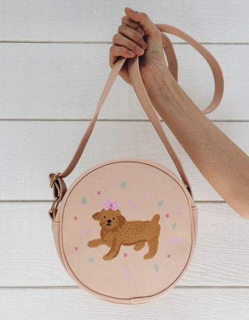 Toy Poodle Round Leather Bag image