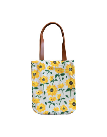Sunflowers Pattern Leather Tote Bag image