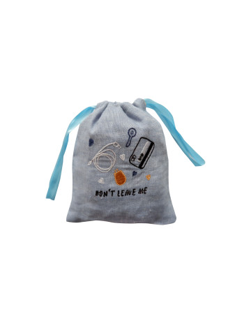 Don't Leave Me Embroidered Drawstring Pouch image