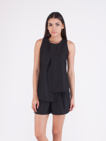 Black Asymetric Amanda Top