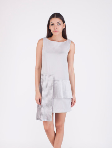 Grey Pleats Kim Dress